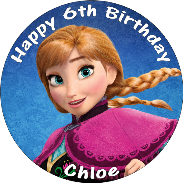 DISNEY FROZEN ANNA PERSONALISED EDIBLE ROUND CAKE TOPPER
